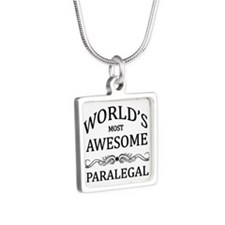 World's Most Awesome Paralegal Silver Square Neckl