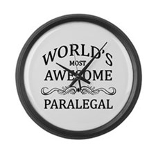 World's Most Awesome Paralegal Large Wall Clock