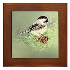 Watercolor Chickadee Bird in pine tree Framed Tile