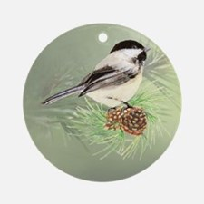 Watercolor Chickadee Bird in pine tree Ornament (R