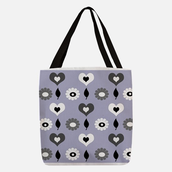 Daisy and heart print monochrom Polyester Tote Bag