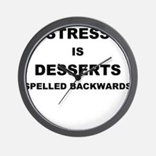 STRESS IN DESSERTS SPELLED BACKWARDS Wall Clock
