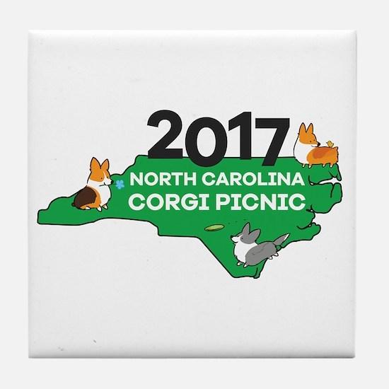 2017 Nc Corgi Picnic Logo Tile Coaster