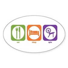 Eat Sleep Spin Oval Decal