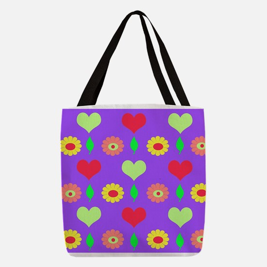 daisy and heart print purple Polyester Tote Bag