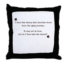 Chocolate and aging Throw Pillow