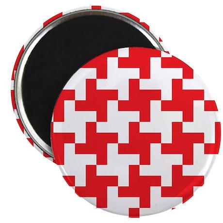 Retro Houndstooth Vintage Red Magnets