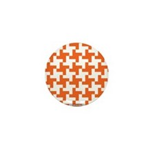 Reto Houndstooth Vintage Orange Mini Button