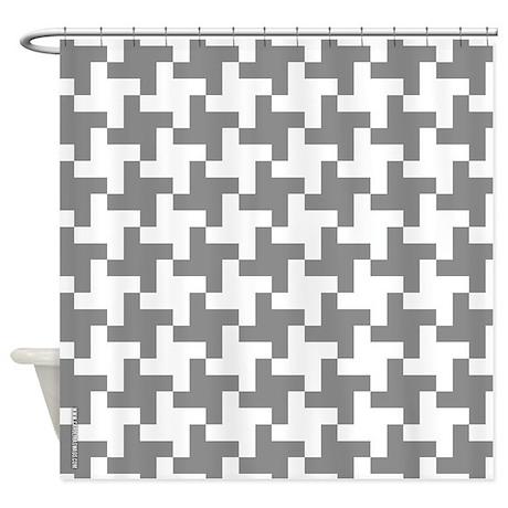 Grey Retro Houndstooth Shower Curtain