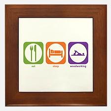 Eat Sleep Woodworking Framed Tile
