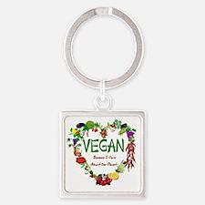 Vegan Heart Square Keychain