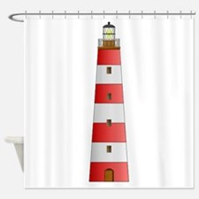 Red Striped Lighthouse Shower Curtain