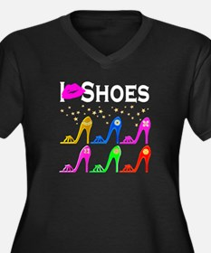 LOVE SHOES Women's Plus Size V-Neck Dark T-Shirt