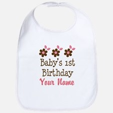 Personalized 1st Birthday flowered Bib