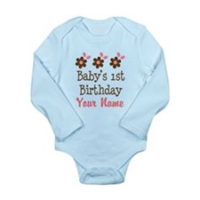 Personalized 1st Birthday flowered Body Suit