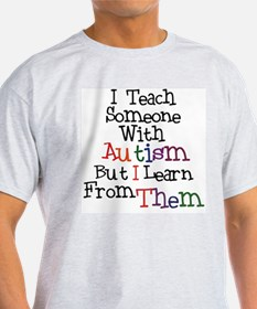 Autism Awareness Teach/Learn Ash Grey T-Shirt