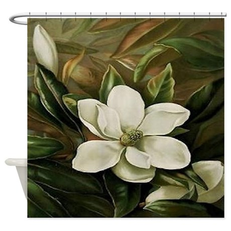 Magnolia Shower Curtain By Maggiesheartvintageshoppe
