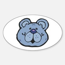 Cute Blue Country Bear Oval Decal