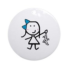 Girl & Ice Skating Ornament (Round)