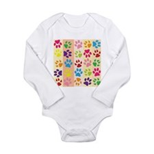 Colored Paw Prints Body Suit