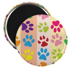 Colored Paw Prints Magnets