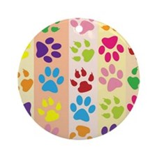 Colored Paw Prints Ornament (Round)