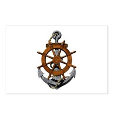 Ship Wheel And Anchor Postcards (Package of 8)