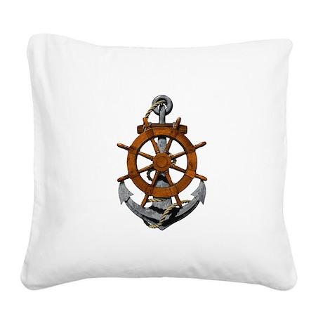 Ship Wheel And Anchor Square Canvas Pillow