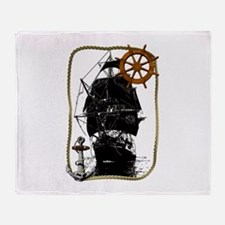 Historical Sailing Ship Throw Blanket