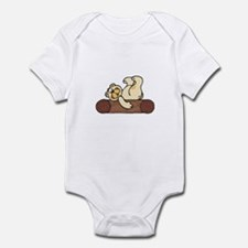 Silly Bear Lounging on a Log Infant Bodysuit