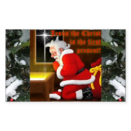 'Santa knelt' Rectangle Sticker