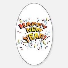 Confetti New Years Eve Oval Decal