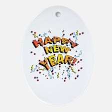 Confetti New Years Eve Oval Ornament