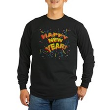 Confetti New Years Eve Long Sleeve Black T-Shirt