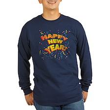 Confetti New Years Eve Long Sleeve Dark Blue Tee