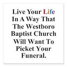 "Westboro Baptist Church Square Car Magnet 3"""