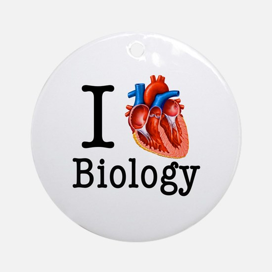 I love Biology Round Ornament
