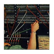 Vintage Switchboard Operator Tile Coaster