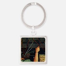 Vintage Switchboard Operator Square Keychain