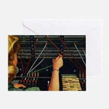 Vintage Switchboard Operator Greeting Card