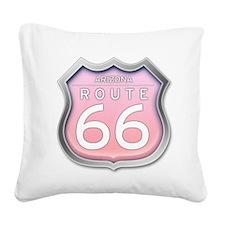 Arizona Route 66 - Pink Square Canvas Pillow