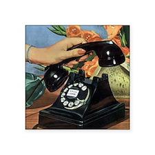 "Vintage Rotary Telephone Square Sticker 3"" x 3"""
