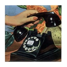 Vintage Rotary Telephone Tile Coaster