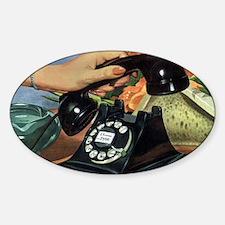 Vintage Rotary Telephone Sticker (Oval)