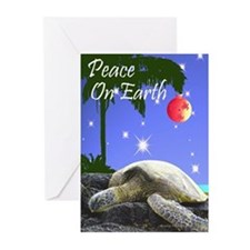 SEA TURTLE PALM CHRISTMAS Greeting Cards (Pk of 20