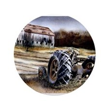 """Old Tractor 3.5"""" Button"""
