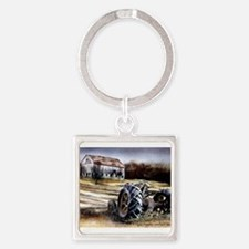 Old Tractor Square Keychain