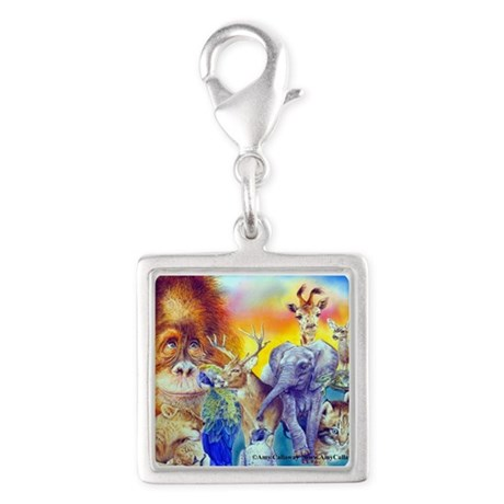 Animal Collage Silver Square Charm