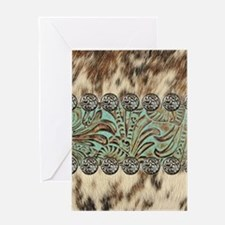 cow hide western leather Greeting Cards