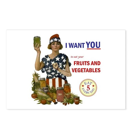 """""""Fruits and Vegetables"""" Postcards (Package of 8)"""